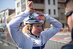 'Where did I leave my Fanta?' - Lotta Lepistö (FIN) after Gent Wevelgem Elite Women 2018 - a 143 km road race from Ieper to Wevelgem on March 25, 2018. Photo by Sean Robinson/Velofocus.com