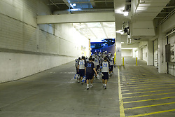 05 November 2007: North Carolina Tar Heels men's lacrosse walks through the tunnel at Ramshead Deck after a practice on Navy Field in Chapel Hill, NC.