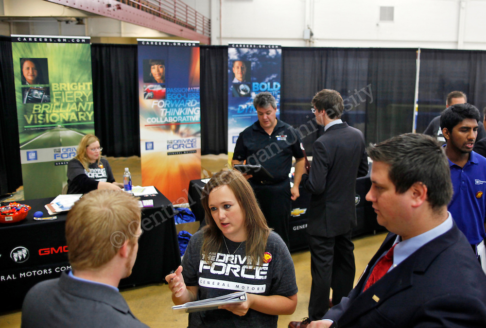 Kappa Psi Career Day in Finch, one out of 5 major Career Day events that we sponsored by Career Services throughout the academic year.  Fall is always the largest attended by employers, with over 100 employing organizations attending. Central Michigan University photo by Neil Barris