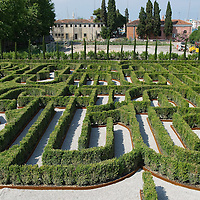 VENICE, ITALY - JUNE 16:  A geneal view of The Borges Labyrinth at Fondazione Cini on June 16, 2011 in Venice, Italy. To mark the 25th anniversary of the death of celebrated Argentinian writer Jorge Luis Borges the Fundación Internacional Jorge Luis Borges and the Giorgio Cini Foundation created The Borges Labyrinth, a reconstruction of the maze that architect Randoll Coate designed in the writer's honour.  (Photo by Marco Secchi/Getty Images) The Giorgio Cini Foundation (Italian Fondazione Giorgio Cini), or just Cini Foundation, is a cultural foundation founded April 20, 1951 in memory of Count Giorgio Cini.
