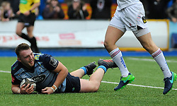 Dillon Lewis of Cardiff Blues scores a try - Mandatory by-line: Nizaam Jones/JMP- 24/03/2018 - RUGBY - BT Sport Cardiff Arms Park- Cardiff, Wales - Cardiff Blues v Ulster Rugby - Guinness Pro 14