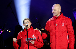18.03.2017, Planai-Stadion, Schladming, AUT, Special Olympics 2017, Wintergames, Eröffnungsfeier, im Bild Johanna Pramstaller, Special Olympics International Global Messenger, und Jürgen Winter, Bürgermeister von Schladming und Präsident von Special Olympics Österreich // Johanna Pramstaller, Special Olympics International Global Messenger, and Jürgen Winter, mayor of Schladming and President of Special Olympics Austria, during the opening ceremony in the Planai Stadium at the Special Olympics World Winter Games Austria 2017 in Schladming, Austria on 2017/03/17. EXPA Pictures © 2017, PhotoCredit: EXPA / Martin Huber