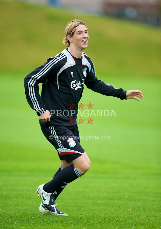 LIVERPOOL, ENGLAND - Friday, September 12, 2008: Liverpool's Fernando Torres training at the club's Melwood Training Ground ahead of the Premiership clash with Manchester United. (Photo by David Rawcliffe/Propaganda)