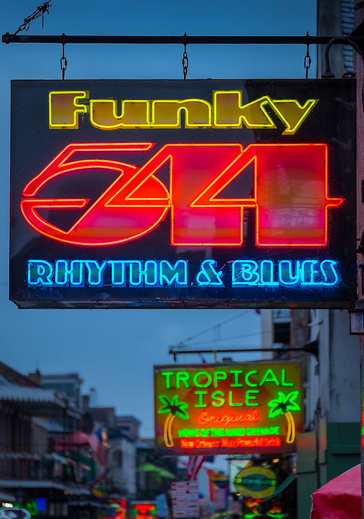 NEW ORLEANS - CIRCA FEBRUARY 2014: Neon sign over Bourbon Street  in the New Orleans French Quarter in Louisiana, at night.