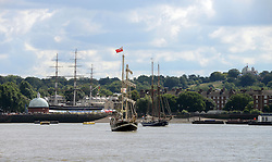 © Licensed to London News Pictures. 30/08/2013. London, UK. Tall Ships on The Thames at Greenwich, with The Cutty Sark in view,  marking one year until The Tall Ship Regatta, Falmouth to Greenwich in August 2014. Photo credit: Mike King/LNP