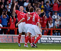 Photo: Leigh Quinnell.<br /> Nottingham Forest v Bristol City. Coca Cola League 1. 21/10/2006. Forests Sammy Clingan(L) and John Curtis(R) celebrate Nicky Southalls goal.