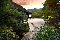 Konchi-in Temple Garden, traditional Japanese rock Zen garden of a historic temple at Nanzen-ji temple complex in Sakyo-ku, Kyoto, Japan 2017
