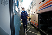 Ryan Delaney of Wimbledon  arriving at the ground during the EFL Sky Bet League 1 match between Tranmere Rovers and AFC Wimbledon at Prenton Park, Birkenhead, England on 21 December 2019.