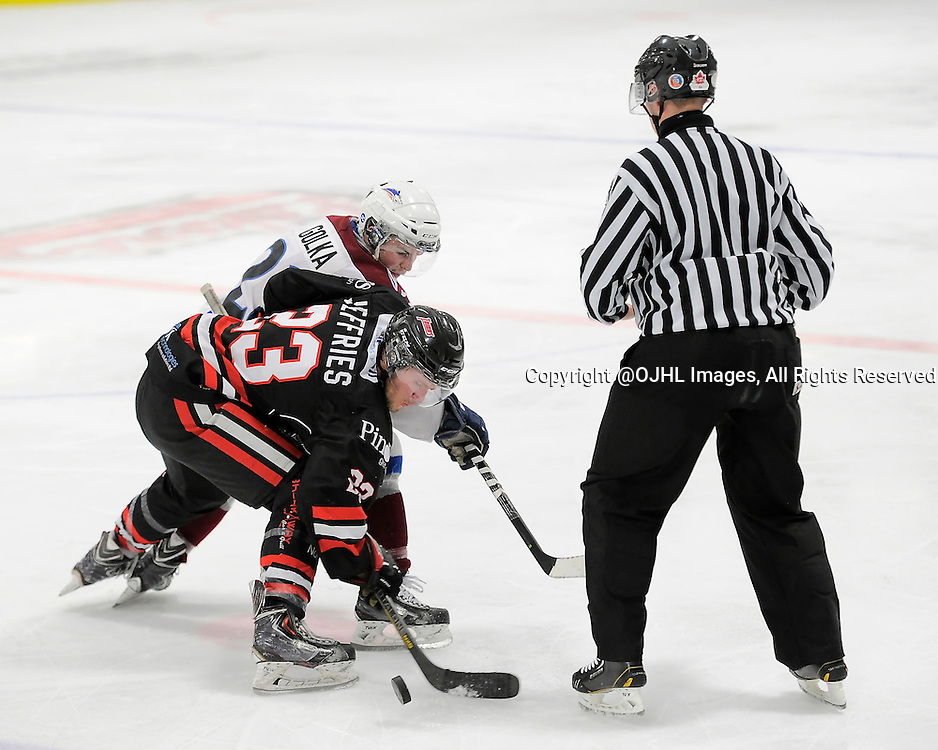 FORT FRANCES, ON - Apr 28, 2015 : Central Canadian Junior &quot;A&quot; Championship, game action between the Soo Thunderbirds and the Dryden GM Ice Dogs, game one of the Dudley Hewitt Cup, Cole Golka #22 of the Dryden GM Ice Dogs and Brett Jefferies #23 of the Soo Thunderbirds during a face-off<br /> (Photo by Amy Deroche/ OJHL Images)