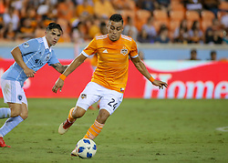 August 4, 2018 - Houston, TX, U.S. - HOUSTON, TX - AUGUST 04:  Houston Dynamo midfielder Darwin Ceren (24) dribbles the ball during the soccer match between Sporting Kansas City and Houston Dynamo on August 4, 2018 at BBVA Compass Stadium in Houston, Texas.  (Photo by Leslie Plaza Johnson/Icon Sportswire) (Credit Image: © Leslie Plaza Johnson/Icon SMI via ZUMA Press)