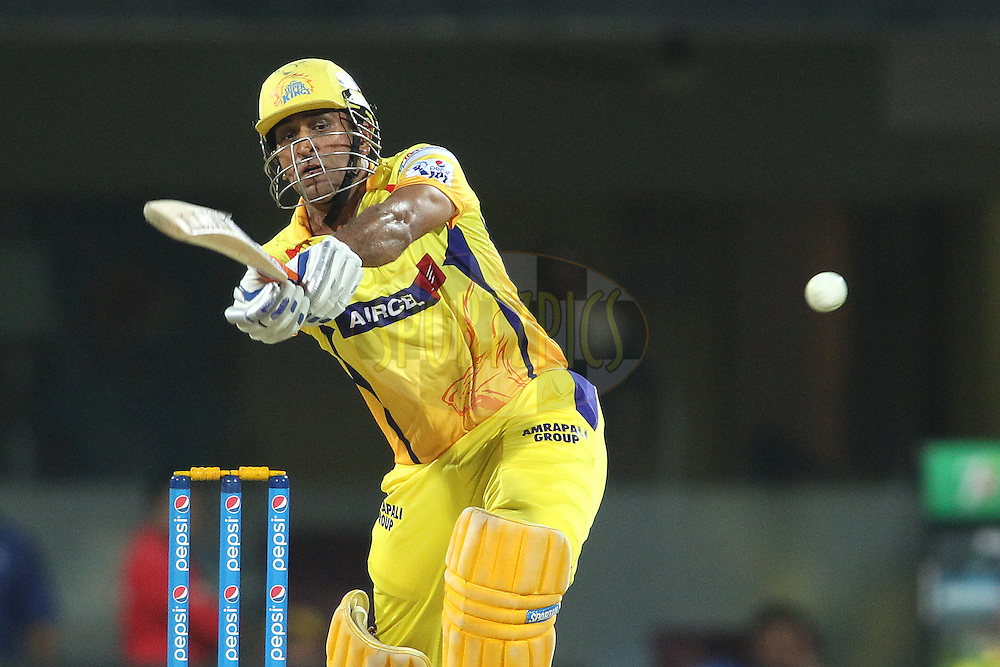 Chennai Super Kings Captain MS Dhoni miss times his shot during match 43 of the Pepsi IPL 2015 (Indian Premier League) between The Chennai Super Kings and The Mumbai Indians held at the M. A. Chidambaram Stadium, Chennai Stadium in Chennai, India on the 8th May April 2015.<br /> <br /> Photo by:  Shaun Roy / SPORTZPICS / IPL