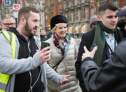 © Licensed to London News Pictures. 07/01/2019. London, UK. Conservative MP and Remain campaigner ANNA SOUBRY is heckled by a group of Brexit supporters, including JAMES GODDARD (left) as she returns to the Houses of Parliament in London after appearing on broadcast television programs on College Green, Westminster. Photo credit:  George Cracknell/LNP