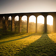 Thornton Viaduct, built in the 1870s as part of the railway lining Bradford, Halifax and Keighley. The line closed to passengers in 1955. The viaduct has been reopened to walkers and cyclists as part of The Great Northern Trail.