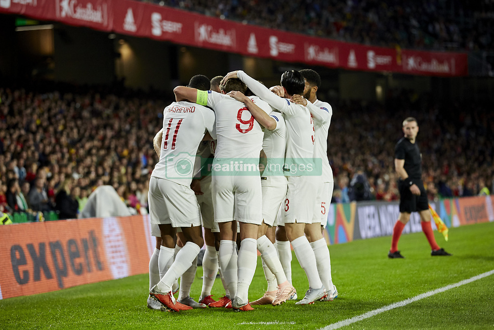 England's players celebrate goal during UEFA Nations League 2019 match between Spain and England at Benito Villamarin stadium in Sevilla, Spain. October 15, 2018. Photo by A. Perez Meca/Alterphotos/ABACAPRESS.COM