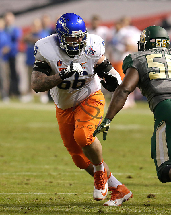 Boise State offensive lineman Mario Yakoo (66) during the Cactus Bowl NCAA college football game against Baylor, Tuesday, Dec. 27, 2016, in Phoenix. (AP Photo/Rick Scuteri)