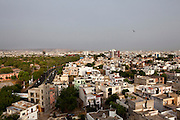 An overview of Jaipur, the 'Pink City' of Rajasthan, India, on 19th June 2012. Jaipur is part of the 'golden triangle' of tourism of North India, together with Delhi and Agra. Photo by Suzanne Lee