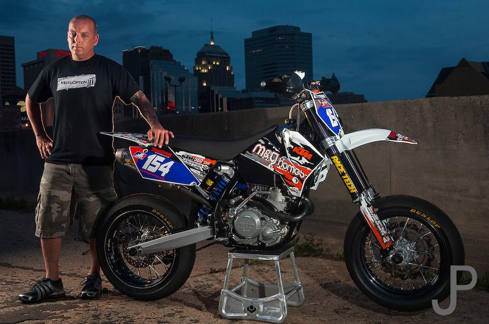 Supermoto rider Monte Frank on his KTM motorcycle
