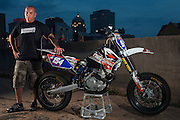 Supermoto rider Monte Frank on his KTM motorcycle