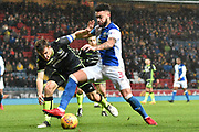 Blackburn Rovers Defender, Derrick Williams (3) and Bristol Rovers Defender, Tom Lockyer (4)  during the EFL Sky Bet League 1 match between Blackburn Rovers and Bristol Rovers at Ewood Park, Blackburn, England on 25 November 2017. Photo by Mark Pollitt.