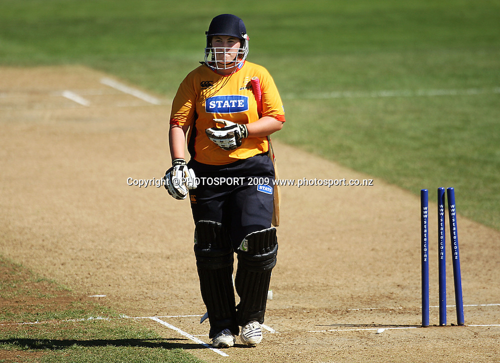 Megan Wakefield walks after being bowled by Amy Satterthwaite.<br /> State League 20/20 final. Wellington Blaze v Canterbury Magicians at Allied Prime Basin Reserve, Wellington. Saturday, 25 January 2009. Photo: Dave Lintott/PHOTOSPORT