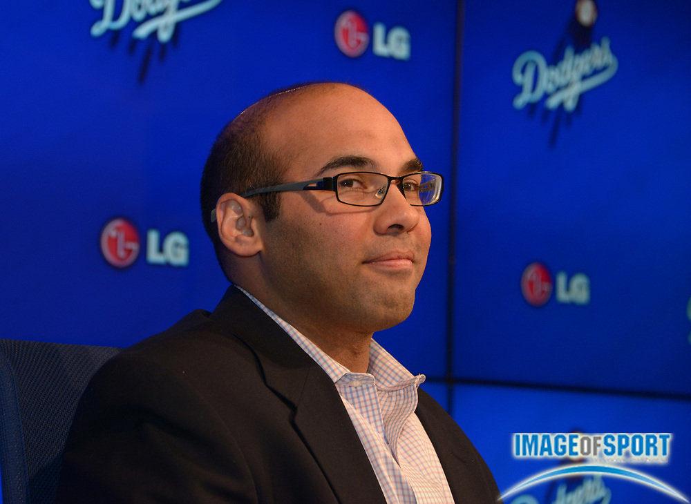 Jan 7, 2015; Los Angeles, CA, USA; Los Angeles Dodgers general manager Farhan Zaidi at press conference at at Dodger Stadium.
