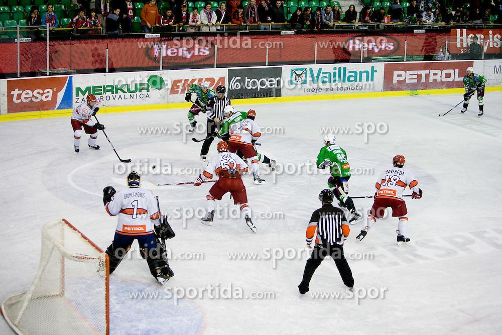 Players at fourth Finals match of Slovenian ice hockey National Championships between HD Tilia Olimpija and HD Acroni Jesenice, on March 29, 2010, in Hala Tivoli, Ljubljana, Slovenia. Acroni Jesenice defeated Olimpija 3-2 and equalized score to 2:2.  (Photo by Vid Ponikvar / Sportida)