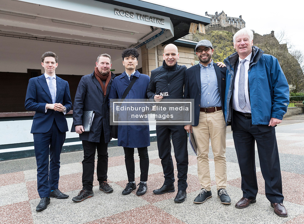 International architects fly in to Edinburgh for their first sight of West Princes Street Gardens as they compete to design a new venue to replace the Ross Bandstand.<br /> <br /> Chair Norman Springford and Project Manager David Ellis from the Ross Development Trust provide visiting teams with a tour of the Gardens and existing Bandstand site.<br /> <br /> A competition to replace the Ross Bandstand in the heart of Edinburgh's West Princes Street Gardens with a new landmark Pavilion has received worldwide interest from architects and designers.<br /> <br /> Entries from 125 teams spanning 22 countries and made of 400 individual firms have been narrowed down to seven finalists. <br /> <br /> The seven finalists will be invited to create concept designs for the £25m project brief, which includes a new landmark venue to replace the bandstand, a visitor centre and subtle updates to West Princes Street Gardens.<br /> <br /> Each of the finalist teams will be led by the following architects:<br /> <br /> - Adjaye Associates (UK)<br /> - BIG Bjarke Ingels Group (Denmark)<br /> - Flanagan Lawrence (UK)<br /> - Page \ Park Architects (UK)<br /> - Reiulf Ramstad Arkitekter (Norway)<br /> - wHY (USA)<br /> - William Matthews Associates (UK) and Sou Fujimoto Architects (Japan)<br /> <br /> Pictured: Norman Springford with the team from BIG Bjarke Ingels Group