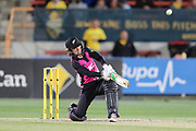 Bernadine Bezuidenhout hits over mid-wicket for six. Women's T20 international Cricket , Australia v New Zealand White Ferns. North Sydney Oval, Sydney, NSW, Australia. 29 September 2018. Copyright Image: David Neilson / www.photosport.nz