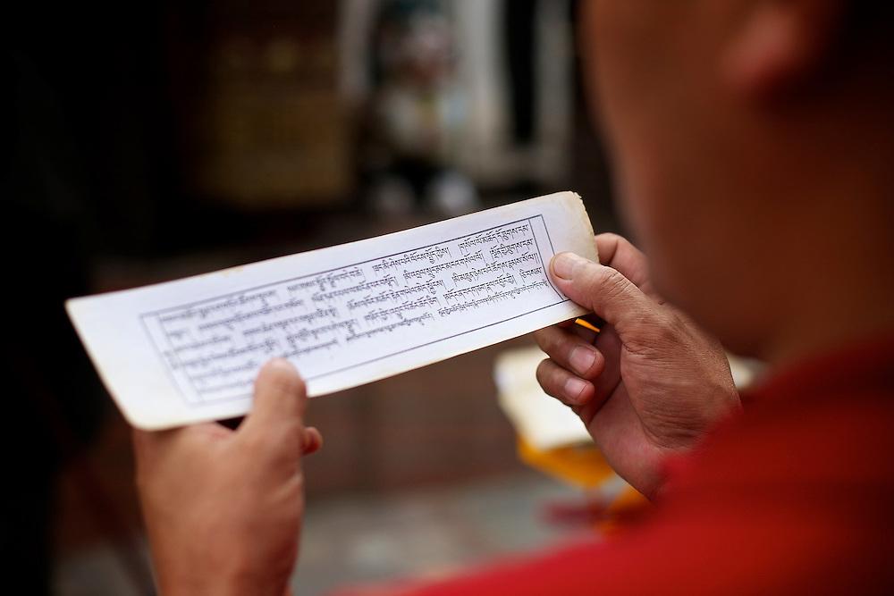 Nepal, Kathmandu. Prayer of a monk in Boudhanath (Little Tibet), the largest Stupa in Nepal.