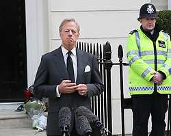 Sir Mark Thatcher gives a statement outside Baroness Thatcher's house in London, Wednesday, 10th April 2013 Photo by: Stephen Lock / i-Images
