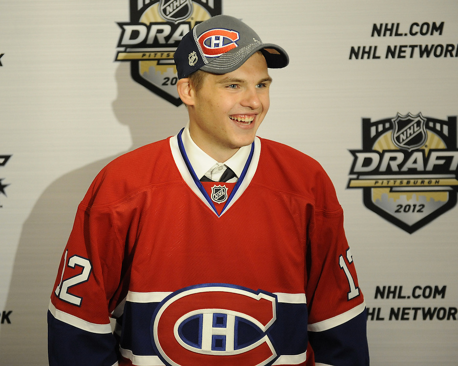 Alex Galchenyuk of the Sarnia Sting was the third overall pick of the Montreal Canadiens in the 2012 NHL Entry Draft in Pittsburgh, PA on Friday June 22. Photo by Aaron Bell/CHL Images