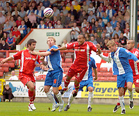 Photo: Ed Godden/Sportsbeat Images.<br /> Leyton Orient v Hartlepool United. Coca Cola League 1. 22/09/2007. Orient's Tamika Mkandawire (no. 5) rises high for the ball.