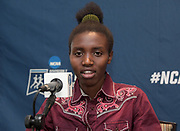 Edna Kurgat of New Mexico reacts during a press conference prior to the NCAA cross country championships at the Sawyer Hayes Community Center in Louisville, Ky. on Friday, Nov. 17, 2017.