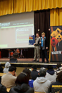 Martha Tessmer and Kelly Browning of Impact Teen Drivers present to Hawyward High Students on Wednesday, December 7, 2011.