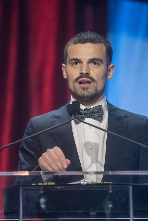 Jakob Schillinger of Tuebingen, Germany, recipient of one of the six Core Principle Awards, the Giving award, at the fourth annual Muhammad Ali Humanitarian Awards Saturday, Sept. 17, 2016 at the Marriott Hotel in Louisville, Ky. (Photo by Brian Bohannon for the Muhammad Ali Center)