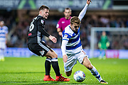 Fulham (16) Oliver Norwood, QPR (7) Luke Freeman during the EFL Sky Bet Championship match between Queens Park Rangers and Fulham at the Loftus Road Stadium, London, England on 29 September 2017. Photo by Sebastian Frej.