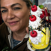 Vanina holding a Banana Float, one of her boardwalk specialty.<br /> <br /> Vanina created these and other specialties can be found at &quot;Vanina's Ice Cream&quot; located at 1539 Boardwalk &amp; Kentucky Avenue in Atlantic City, NJ.