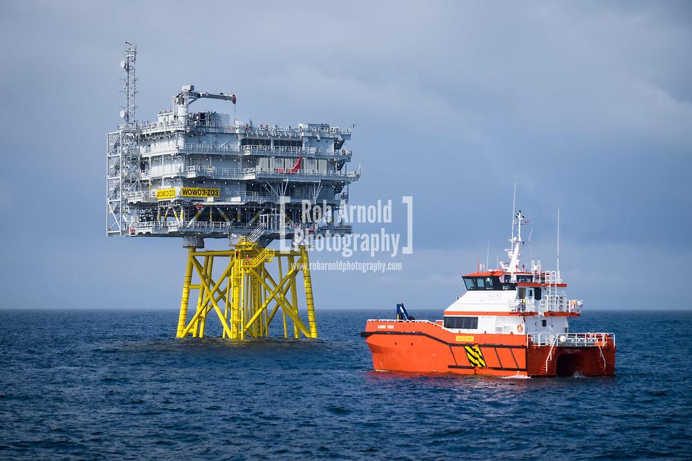 Crew Transfer vessel Njord Thor on standby at Walney Extension Substation Z03