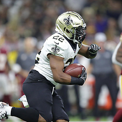 Oct 8, 2018; New Orleans, LA, USA New Orleans Saints running back Mark Ingram II (22) runs against the Washington Redskins during the first quarter at the Mercedes-Benz Superdome.