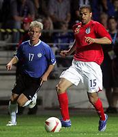 Photo: Paul Thomas.<br /> Estonia v England. UEFA European Championships Qualifying, Group E. 06/06/2007.<br /> <br /> Kieran Dyer (R) of England goes past Tarmo Kink.