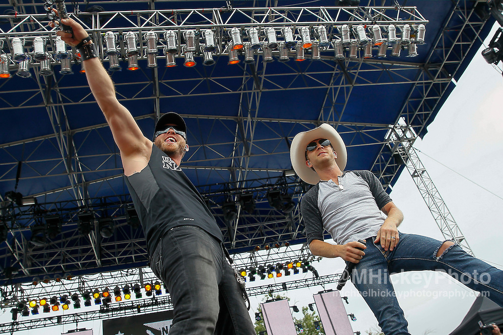 Country music artists Brantley Gilbert and Justin Moore perform in concert at the Indianapolis Motor Speedway during Brickyard 400 weekend.