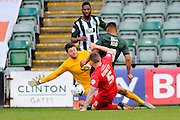 York City Goalkeeper Scott Flinders and York City's Scot Bennett combine to foil a Plymouth Argyle's Reuben Reid attack during the Sky Bet League 2 match between Plymouth Argyle and York City at Home Park, Plymouth, England on 28 March 2016. Photo by Graham Hunt.