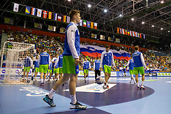 Players of Slovenia before handball match between National teams of France and Slovenia in Final of 2018 EHF U20 Men's European Championship, on July 29, 2018 in Arena Zlatorog, Celje, Slovenia. Photo by Urban Urbanc / Sportida
