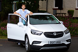 LIVERPOOL, ENGLAND - Wednesday, May 17, 2017: Liverpool and England's Adam Lallana opposes nest to a Vauxhall Mokka car during a photoshoot for Vauxhall at the Devonshire House Hotel. For usage see Aimee at Mace Sport. (Pic by David Rawcliffe/Propaganda)