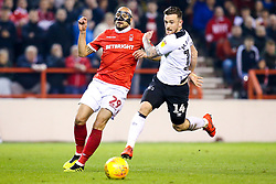 Jack Marriott of Derby County takes on Yohan Benlouane of Nottingham Forest - Mandatory by-line: Robbie Stephenson/JMP - 25/02/2019 - FOOTBALL - The City Ground - Nottingham, England - Nottingham Forest v Derby County - Sky Bet Championship