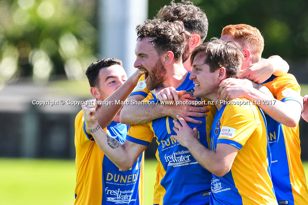 Southern United FC Danny Furlong celebrates his goal during a match against Waitakere United.<br /> Waitakere United v Southern United FC, ISPS Handa Premiership Rnd 4 2017, The Trusts Arena, Auckland, New Zealand. 12 November 2017. &copy; Copyright Image: Marc Shannon / www.photosport.nz.