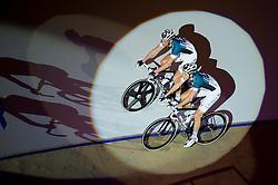 06-01-2012 WIELRENNEN: RABOBANK ZESDAAGSE: ROTTERDAM<br /> Iljo Keisse (achter), Niki Terpstra tijdens de voorstelronde<br /> (c)2012-FotoHoogendoorn.nl / Peter Schalk