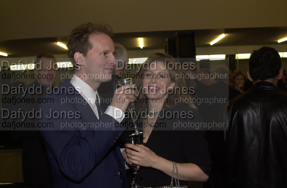 Dominic Burning and Cathy de Moncheaux. Reception at the Tate Modern  to celebrate the first anniversary. 10 May 2001. © Copyright Photograph by Dafydd Jones 66 Stockwell Park Rd. London SW9 0DA Tel 020 7733 0108 www.dafjones.com