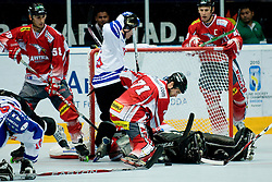 Goalie Bernhard Starkbaum of Austria stopped the finish pressure in first quarter at Game 5 of IIHF In-Line Hockey World Championships Top Division Group match between National teams of Finland and Austria on June 29, 2010, in Karlstad, Sweden. (Photo by Matic Klansek Velej / Sportida)