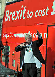 Pictured: Boris Johnson look-alike Drew Galdron speaks to the crowd.<br /> <br /> Campaigners demanding Britain stays in the EU took a 'brexit bus' to Edinburgh on Saturday, complete with a Boris Johnson look-alike to get their message accross.<br /> <br /> © Dave Johnston / EEm